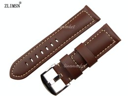 Genuine Leather Watch Band 24mm NEW TOP HQ Mens Thick Smooth Black Brown Green Yellow Strap