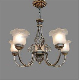LRE003-Wholesale Art Decor Iron Glass European Chandelier Artistic Glass Ceiling Pendant Lamps American Livingroom Decor Lamp