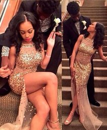 Wholesale Sparkly Gold Crystal Sequins Prom Dress Sheer Back Abendkleider Sexy High Split Formal Evening Dress Sheath Crystal Prom Gowns