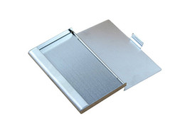 Wholesale-9.3x5.7x0.7cm Business ID  Case Metal Fine Box Holder Stainless Steel Pocket