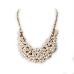 Free Shipping Wholesale Pearl Cluster Pendant Necklace, Elegant Crystal Glass Stone Necklace, Handmade Fashion Trendy Necklace