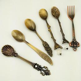 Dessert Spoons Coffee SpoonTeaspoon Awakingdemi Vintage Royal Style Metal Carved Fruit Dessert Spoons for Kitchen Dining Bar 6pcs set