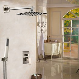 Wholesale Brushed Nickel quot Rainfall Shower Faucet Single Handle Bathroom Shower Mixers with Handshower