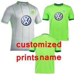 Wholesale Free ship Top best VfL Wolfsburg Home Men Jersey Green white Free customized name number
