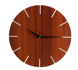 Wholesale Creative fashion a simple wooden wall clock bedroom living room office mute bar clock