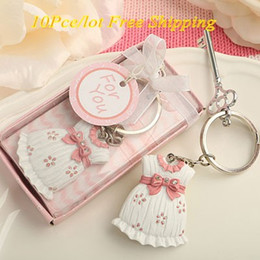 (10Pcs lot) Amazing little dress key chain favor for baby girl and baby birthday favors and baby girl favors baby Party favors