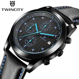 Wholesale 2016 marque de luxe TWINCITY hommes quartz montre chronographe montre bracelet automatique date sports loisirs montres bracelet en cuir de mode