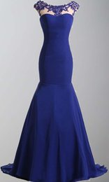 Wholesale Fashion Favorites Jewel Neck Lace Appliques Mermaid Fishtail Evening Dresses Backless Royal Blue Cort Train Oscar Celebrity Dresses