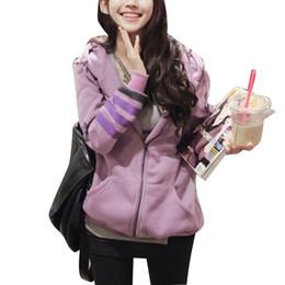 Wholesale New Korean Autumn Style Purple Hooded Hoodie Cashmere Big Pocket Sweatshirts Print Thicken Outerwear Plus Size