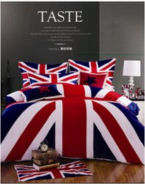 Wholesale 2016 Sale Cotton Fabric British And American Flag Bedding Set Union Jack Twin queen king Duvet Cover Bedclothes Sets
