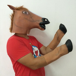 Wholesale Creepy Brown Horse Mask and Horse Feet Costume Latex Mask Halloween Party Mask Full Animal Mask