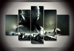 Descuento marcos de carreras 5Pcs con cuadro impreso enmarcado del coche de competición f1 Cuadro de la pared de la pared del arte del sitio de la impresión de la impresión del cartel de la impresión de la lona listo para colgar la lona