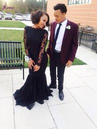 2016 Black Lace Prom 2K15 Dreses with Sheer Long Sleeve Mermaid Boat Neck Sweep Train Prom Gowns