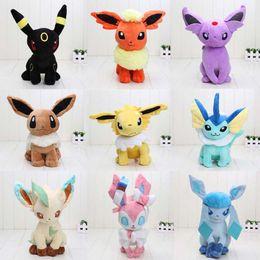 Wholesale 30cm Poke Center Plush toys Pikachu dolls Jolteon Umbreon Flareon Eevee Espeon Vaporeon Kids Christmas gifts