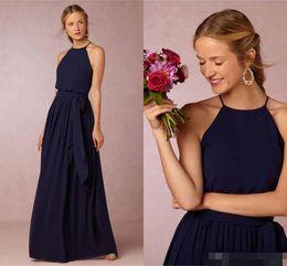 Wholesale 2016 Boho Navy Blue Burgundy Beach Blush Bridesmaid Dresses For Weddings Formal Bridesmaids Dress Long Chiffon Plus Size Evening Party Gowns