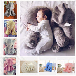 6 color LJJK277 elephant pillow baby doll children sleep pillow birthday gift INS Lumbar Pillow Long Nose Elephant Doll Soft Plush