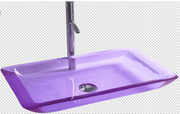 Wholesale Rectangular Bathroom Resin Acrylic Counter Top Sink Vessel Solid Surface Stone Coakroom Colored Wash Basin