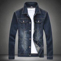 Wholesale Fall New Mens Suit Jeans Jacket Turn Down Collar Vintage Washed Gradient Color Distressed Antique Denim Jacket For Men LQ095