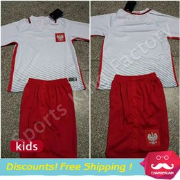 Wholesale kids Poland Children Short Suit EURO CUP Poland Lewandowski Kids Shirt Y Boys Athletic Wear