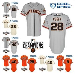 Wholesale Madison Bumgarner Baseball Jersey SF San Francisco Giants Cool Base Jersey w World Series Champion Patch