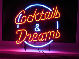new COCKTAILS AND DREAMS Real Glass Neon Light Sign Home Beer Bar Pub Recreation Room Game Room Windows Garage Wall Sign