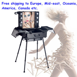 Wholesale aluminum frame makeup station case cosmetic salon hairdresser vanity beauty train case with light bulb mirror legs wheels