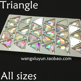 12mm,16mm,22mm Sew on Triangle Rhinestone crystal AB color sewing Crystal for Dress Making