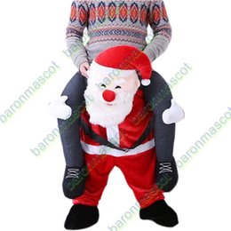 Wholesale Funny Carry Me Santa Claus Mascot Costume Ride On Fancy Dress Red Santa Claus Party Clothing Novelty Christmas Costumes