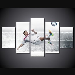 Wholesale 5 Set Framed Printed Football Messi Painting Canvas Print room decor print poster picture canvas ny