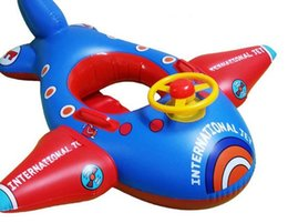 Wholesale Children Boys Girls Water Sports Swimming Lifebuoys Swim Rings Thicker steering wheel inflatable baby boat floating airplane seat boat Buoys