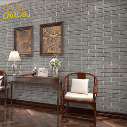 Wholesale Chinese D Antique Brick Pattern Wallpaper Hotel Restaurant Bar Living Room Bedroom Background Wall Paper For Walls Gray Brick
