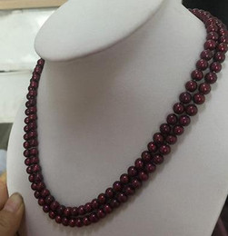 Nobby double strands 6-7mm south sea wine red pearl necklace 18 inch 19 inch 14k gold clasp