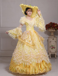 100%real carnival yellow lace belle ball gown with hat Medieval Renaissance Gown queen Dress embroidery ball gown Victorian dress Belle Ball
