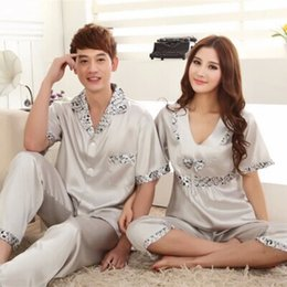 Wholesale-summer rayon silk Satin short sleeve Noble couples nightwear Tracksuit for man women free shipping
