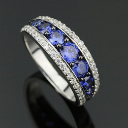 Wholesale Top quality Elegant Woman Sterling Silver Engagement Rings Tanzanite Zirconium SR002