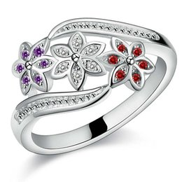1 X New Women Lady Girl Elegant Alloy Flower White Purple Red Crystal Zircon Ring Size 7-9 Jewelry