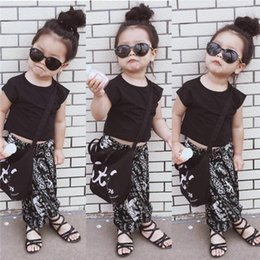 INS children outfits girls T-shirts+Pattern Pull crotch pants 2pcs set baby girl National wind sets cotton children clothes