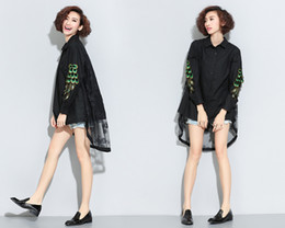 European style three-dimensional fashion peacock feather Lapel shirt female loose back lace stitching long shirts tide