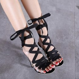 New style ankle wrap transparent sexy high heels sandals black prom gown dress shoes size 35 to 40