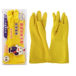 Wholesale Gloves Advanced Acid Alkali Natural Latex Gloves Yellow Color Home Household Clean Gloves pairs