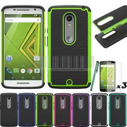 Wholesale-Cover For  Moto X Play XT1562 XT1563 Droid Maxx 2 Rugged Heavy Duty Impact Hybrid Case Cover With Without Films+Stylus