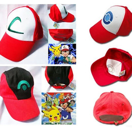 Wholesale DHL Poke Hat Cosplay Anime Pocket Monster Ash Ketchum Baseball Trainer Cap Hat Gift Cool Fashionable XL H01
