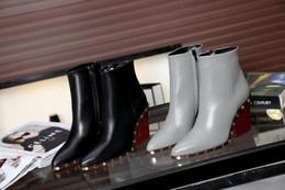 Longue en cuir femmes boot à vendre-Femmes en cuir véritable à long Bottes 2016 Automne Hiver Mode Femmes Talon Chunky chaud Chaussures de travail Bottes de neige bottes de talon Moyen
