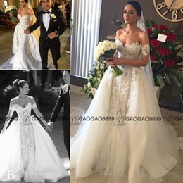 Wholesale Steven khalil Amazing Detail Over Skirts Outdoor Mermaid Wedding Dresses Dubai Arabic Bridal Off shoulder Lace Plus Size Wedding Dress