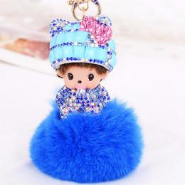 Cute Bow hat Monchichi Keychain Rhinestone Doll Rabbit Fur ball pom pom Key chain Metal Key ring Women Bag Charm Accessories
