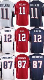 Wholesale NIK Game Stitched Football Patriots Tom Brady Rob Gronkowski Julian Edelman Blank Blue white Red Jerseys size M XL Mix Order
