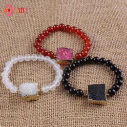 Wholesale 10Pcs Gold Plated Druzy Rock Crystal Colored Connect Agate Round Beads Stretch Bracelets For Women