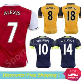 Wholesale Alexis Soccer Jersey Red yellow OZIL RAMSEY GIROUD CAZORLA WILSHERE WALCOTT Camisetas de futbol Gunner Football shirt
