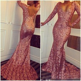 Wholesale Sexy Bling Sequined Rose Pink Long Sleeves Evening Dresses Mermaid Backless Scoop Long Prom Party Gowns Celebrity Dresses Custom
