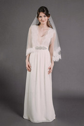 New Hot Saling In Stock Simple Beautiful Line 2T With Comb Lvory White Elbow Wedding Veil Bridal Veils
